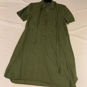 J Crew army green dress button up Mercantile Sz 10